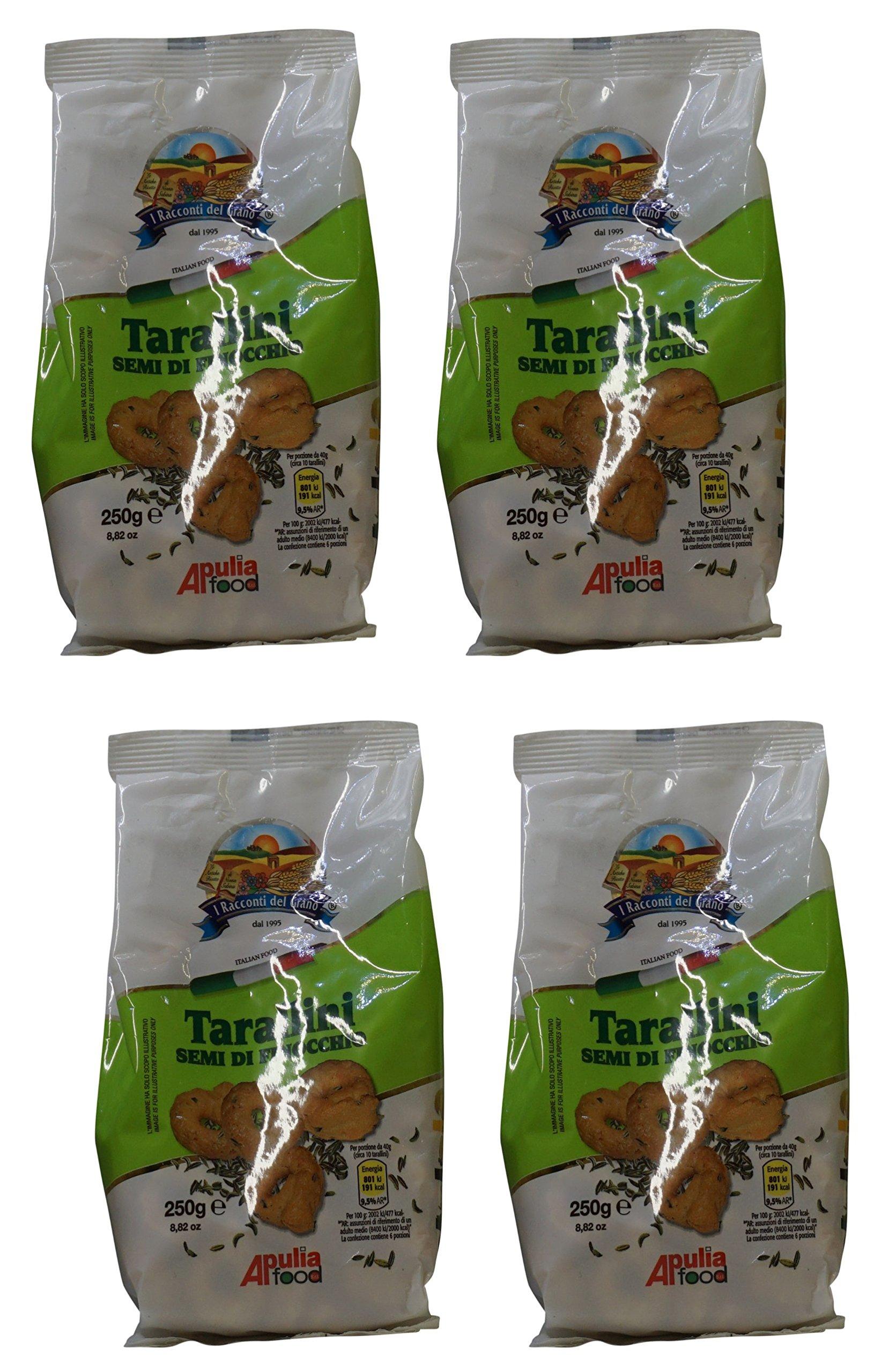 I Racconti del Grano: ''Tarallini ai Semi di Finocchio '' Fennel Seeds Taralli 8.82 Ounce (250gr) Package (Pack of 4) [ Italian Import ]