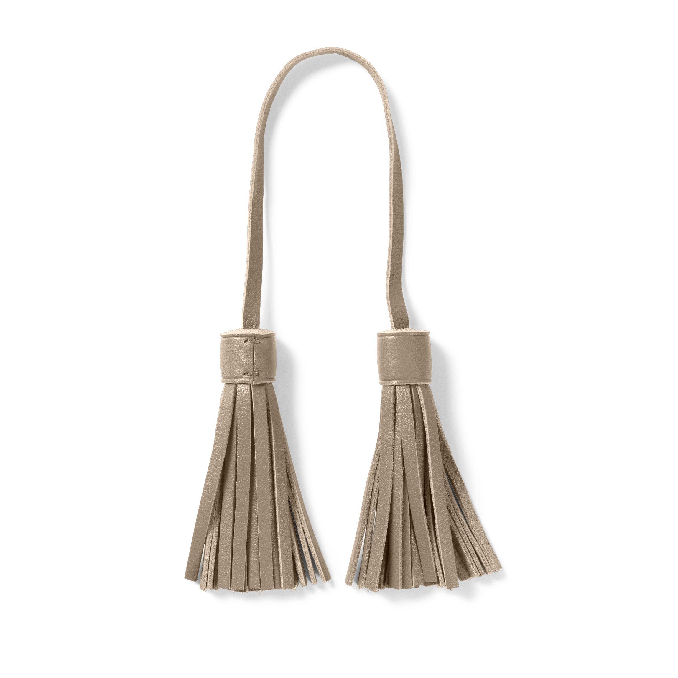 Tassel Bag Tag - Full Grain Leather Leather - Ginger (gray)