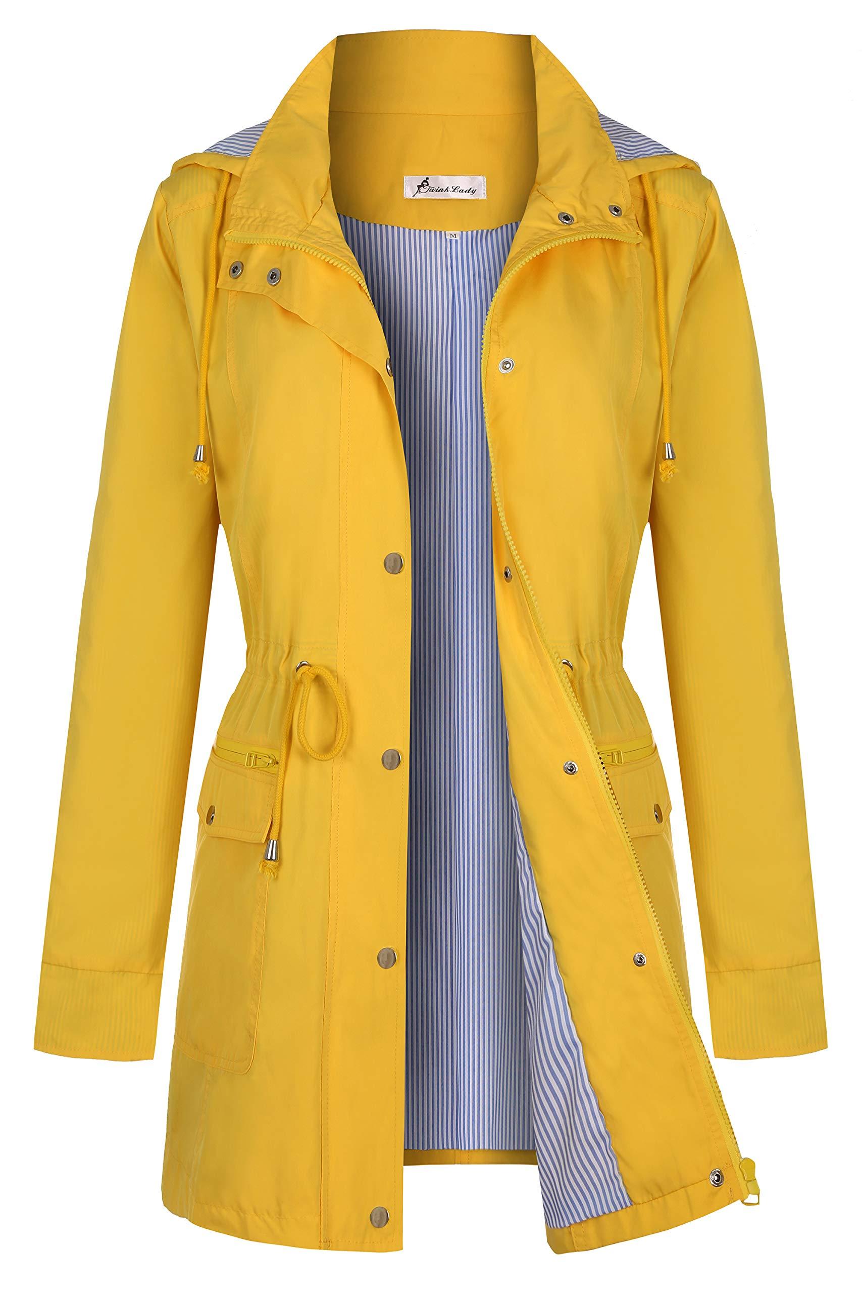 Twinklady Women's Rain Jacket Windbreaker Climbing Raincoats Waterproof Lightweight Outdoor Hooded Trench Coats Yellow XL by Twinklady