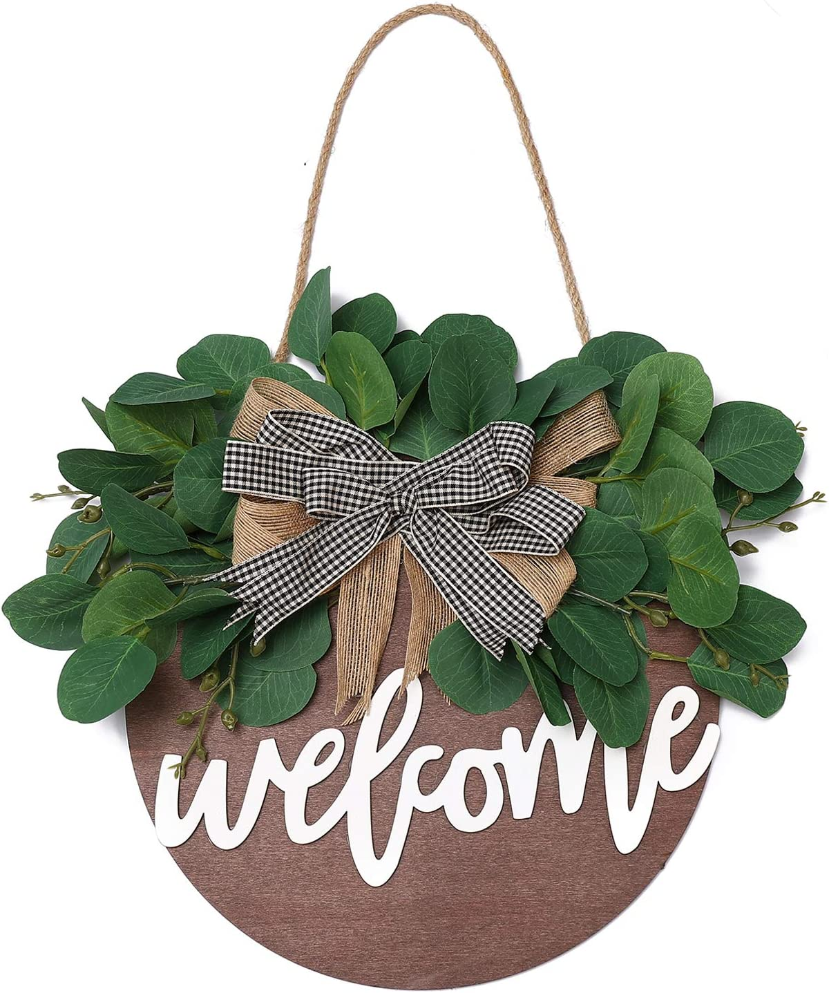 QUNWREATH Welcome Sign , Rustic Front Door Decor, Round Wood Hanging Sign with Eucalyptus, Farmhouse Porch Home Decoration ,Thanksgiving Christmas Gift(12inch) (Welcome Brown board)