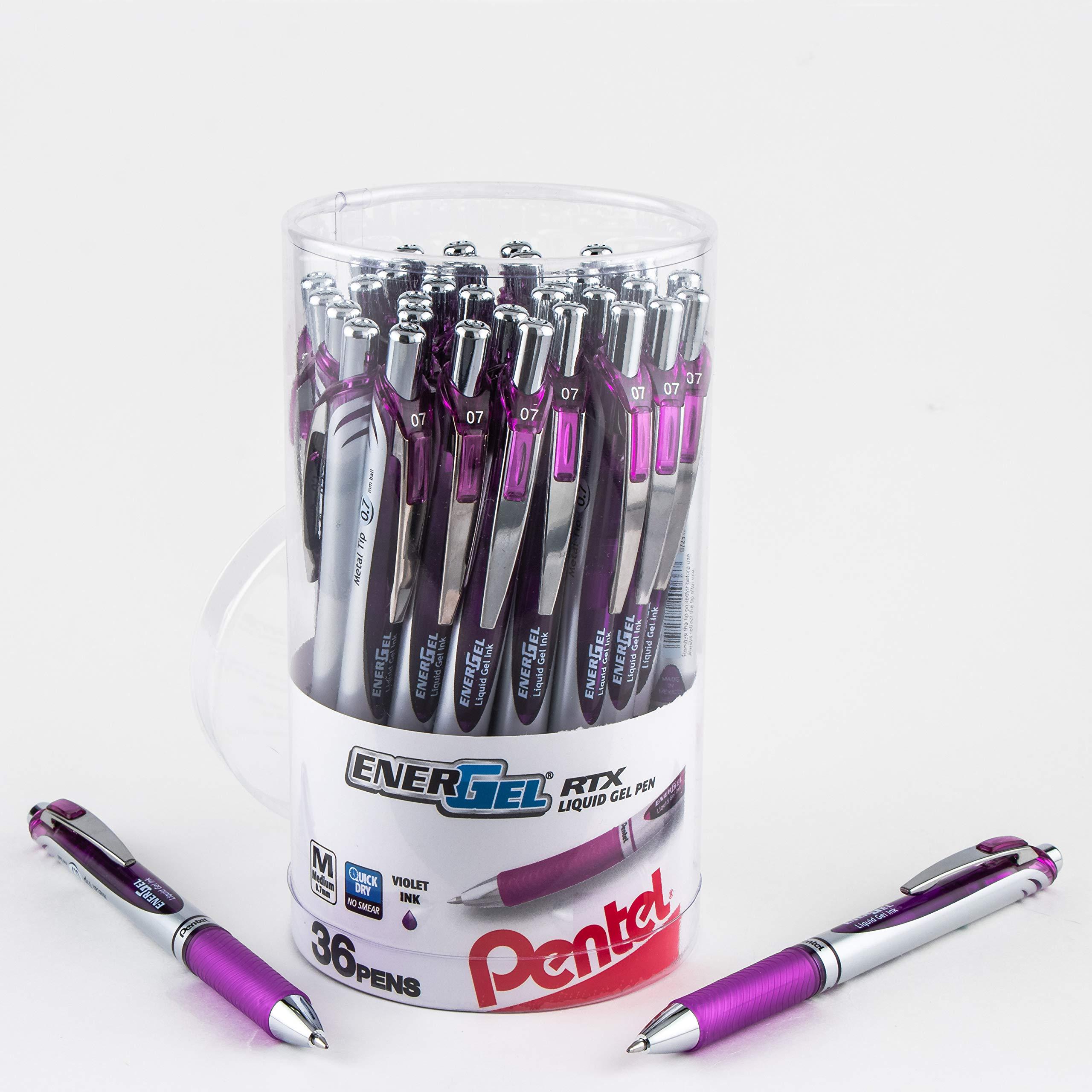 Pentel ENER-GEL RTX Retractable Liquid Gel Pen Canister, Violet Ink, 36Pk (BL77PC36V)