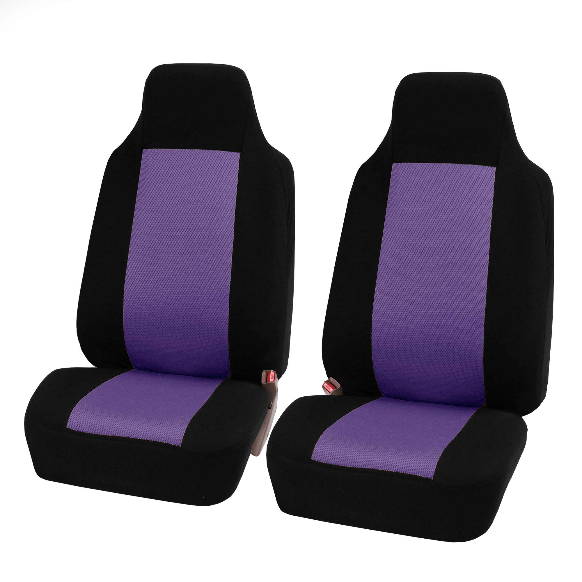 FH Group FB102102 Classic Cloth Car Pair Set Seat Covers Purple/Black- Fit Most Car, Truck, SUV, or Van by FH Group