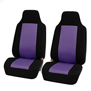 FH Group FB102102 Classic Cloth Car Pair Set Seat Covers Purple/Black- Fit Most Car, Truck, SUV, or Van