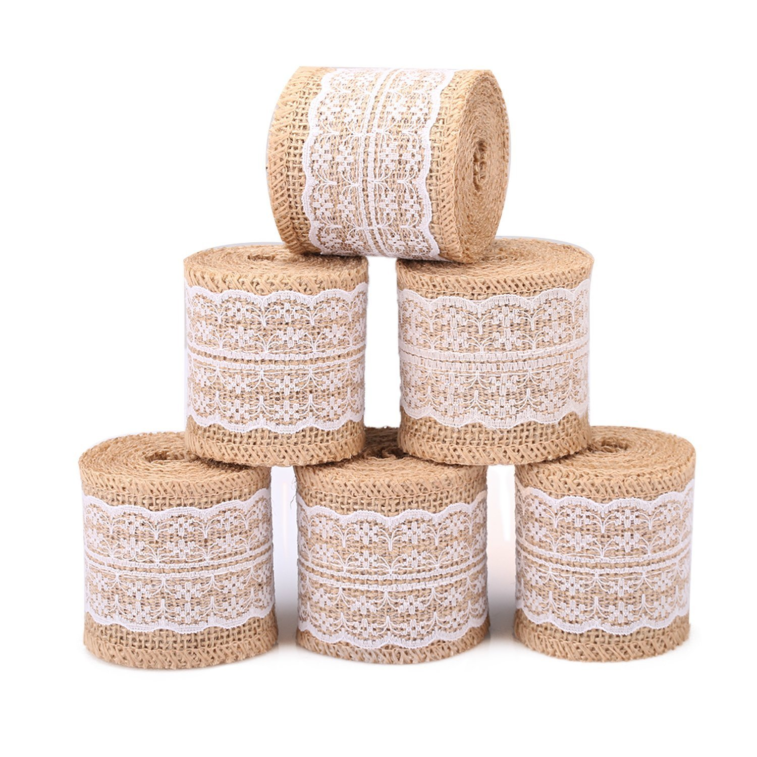 Z& S Groups Natural Burlap Ribbon White Lace Trim Fabric Roll ZoraSelena 6 PCS Burlap Roll Rustic Wedding Decorations 2.3 inches Wide Ribbon Crafts Burlap Lace 78.7 inches Each 4336860374