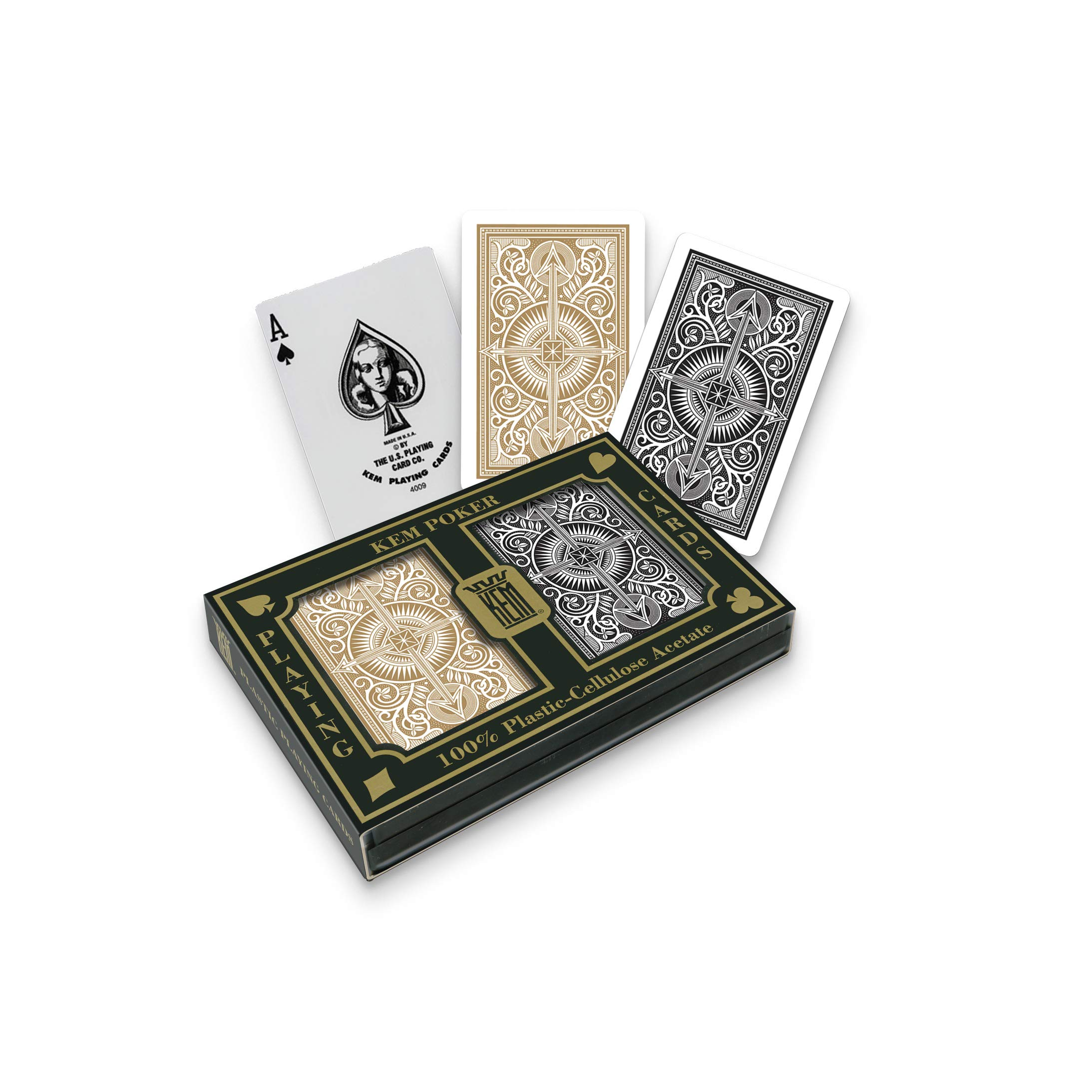 KEM Arrow Black and Gold, Poker Size- Standard Index Playing Cards (Pack of 2) - 1017399 by Kem Playing Cards