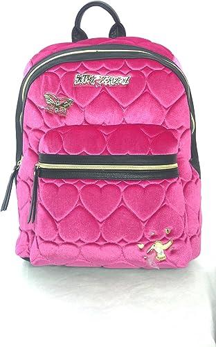 New Betsey Johnson Fuchsia Velvet Quilted Hearts Backpack