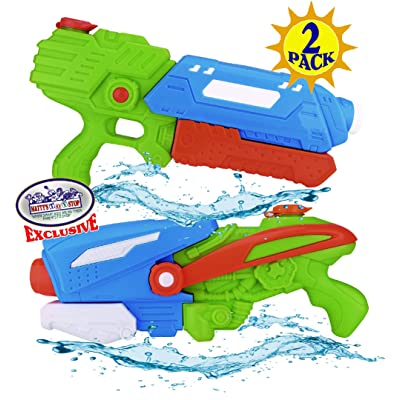 "Matty's Toy Stop 17"" Water Blasters (Soakers) Featuring Pump Action, 32oz Water Capacity, Easy Fill Spout & 24ft Distance Deluxe Battle Bundle - 2 Pack (Assorted Style & Colors): Toys & Games"