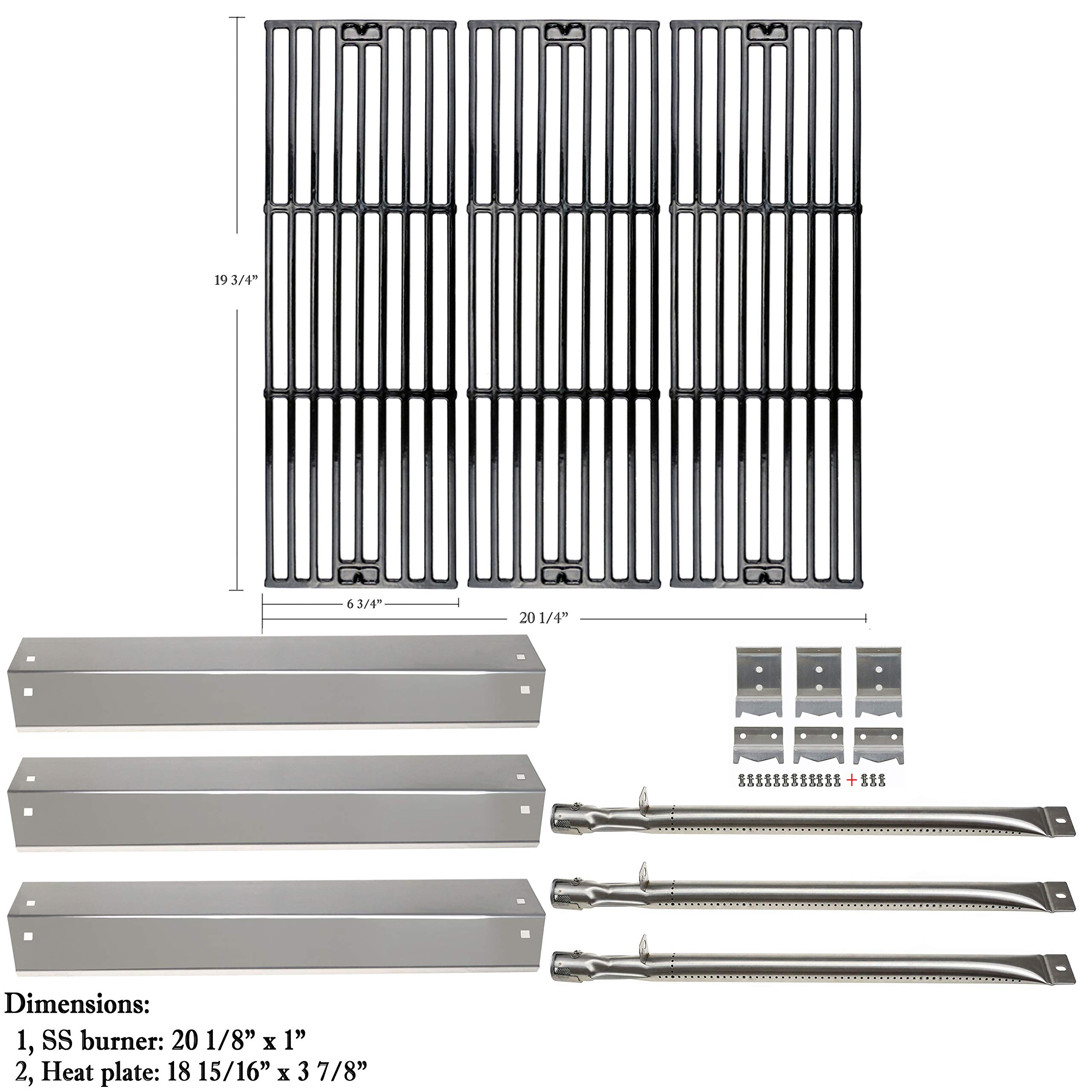 Hisencn Replacement Rebuild Kit fits Chargriller 3001, 3008, 3030, 4000, 5050, 5252 Gas Grill Stainless Steel Burner Tube, Heat Plate, Porcelain-Enameled Cast Iron Cooking Grates, igniter Electrode by Hisencn