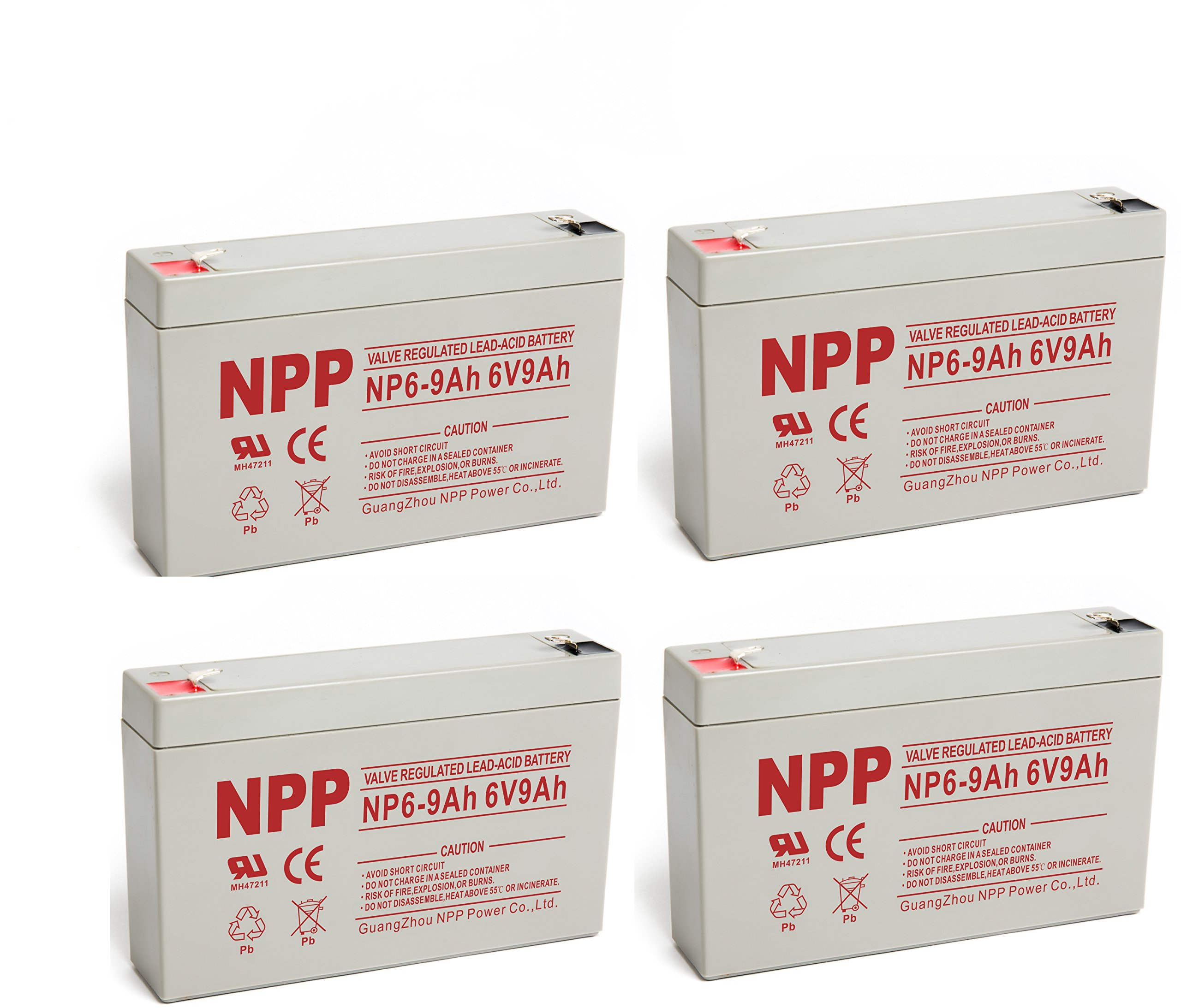 NPPower NP6-9Ah 6V 9Ah SLA Battery F1 Style Terminals/(4pcs)