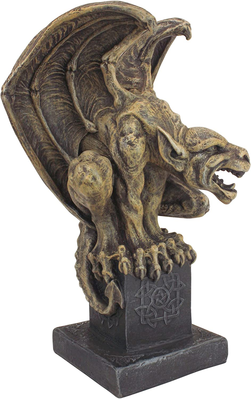 Design Toscano Abbadon Gargoyle Gothic Statue, 12 Inch, Polyresin, Two Tone Stone