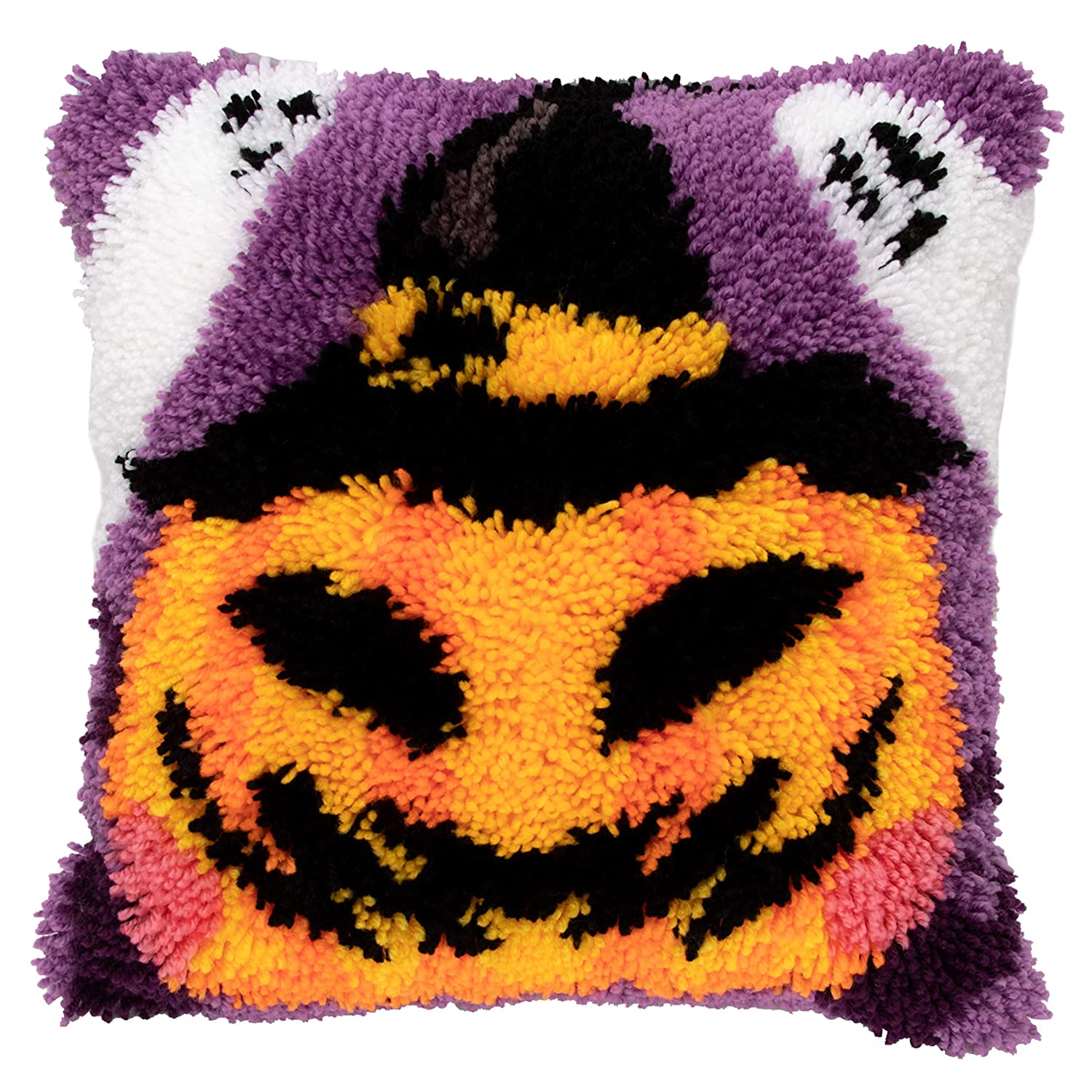 Beyond Your Thoughts Halloween Pumpkin Latch Hook Kits Jack-o-Lantern Funny Grimace with Pre-Printed Canvas DIY Shaggy Rug Pillow Cover 16x16 Inch