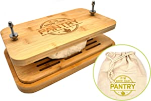 Tofu Press By Grow Your Pantry - New Bamboo Wooden Design with a Stainless Steel Screw System - Bonus Tote Bag for Storage and Ebook Guide.