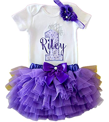 PERSONALIZED FIRST BIRTHDAY Baby Girl Tutu Outfit,Turquoise Purple Gold Genie Lamp 1 with Name Cake Smash Photo Bodysuit,Headband,Necklace