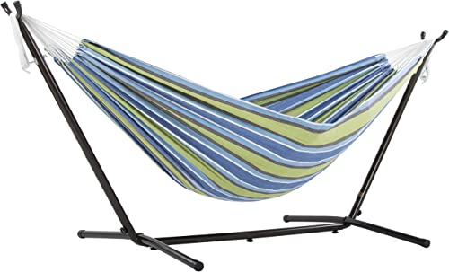 Vivere Double Cotton Hammock with Space Saving Steel Stand, Oasis 450 lb Capacity – Premium Carry Bag Included
