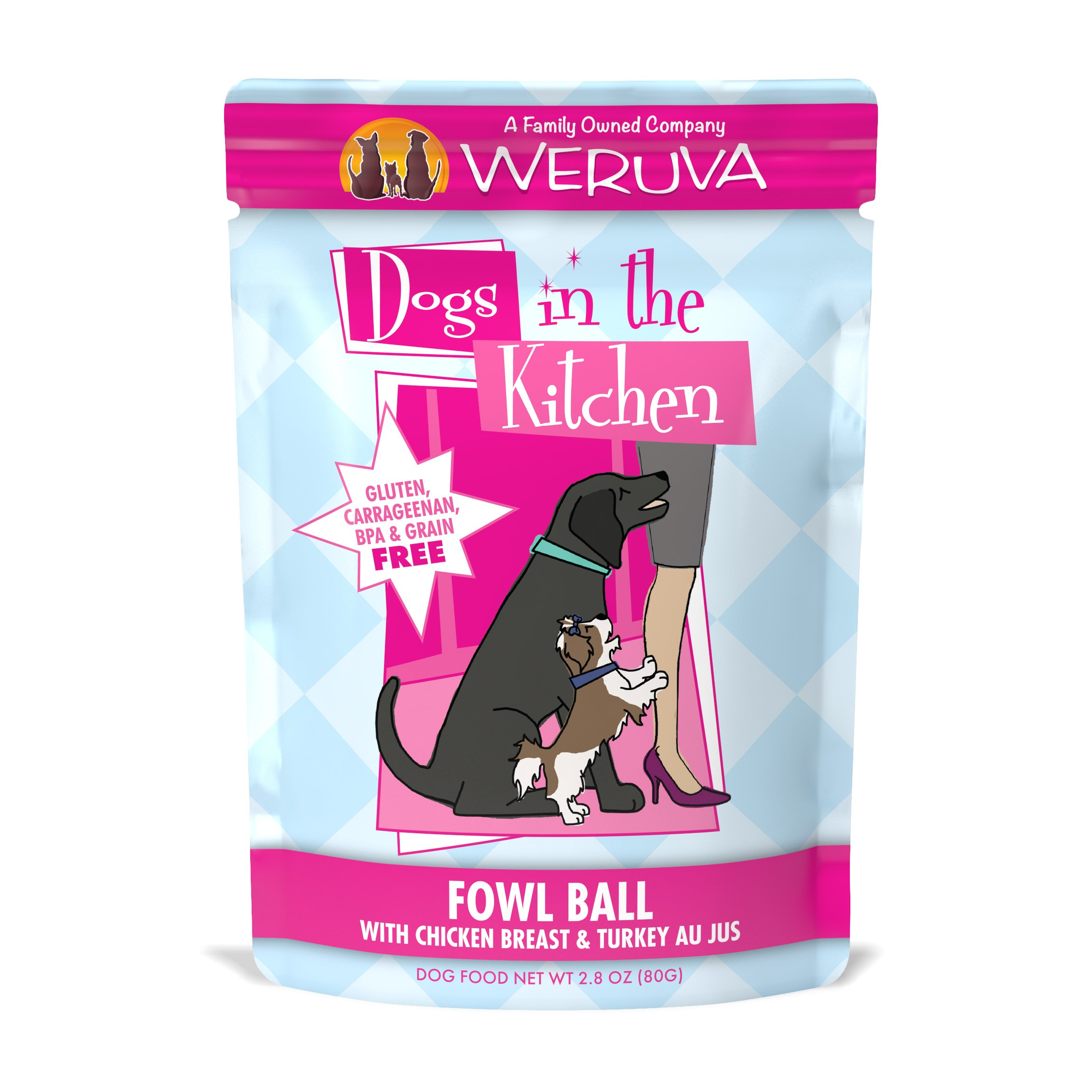Weruva Dogs in the Kitchen, Fowl Ball with Chicken Breast & Turkey Au Jus Dog Food, 2.8oz Pouch (Pack of 12)