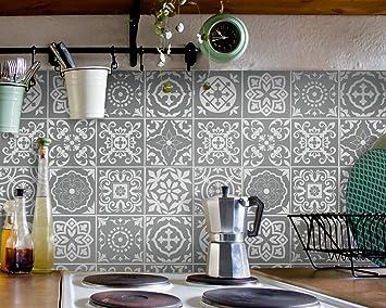Fliesenaufkleber Bad Deko U. Küche   Portugiesisch Grau Muster  Fliesensticker Grau | U2013 Fliesensticker