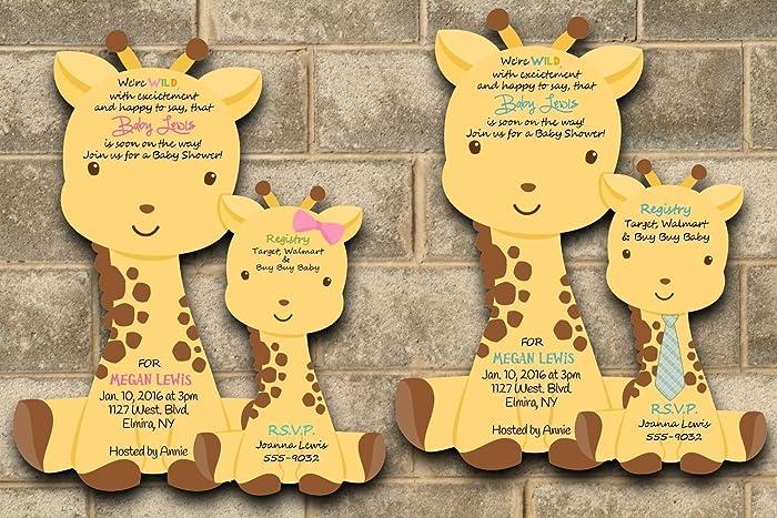 Amazon custom printed giraffe baby shower invitations for baby custom printed giraffe baby shower invitations for baby girl or baby boy set of 20 filmwisefo
