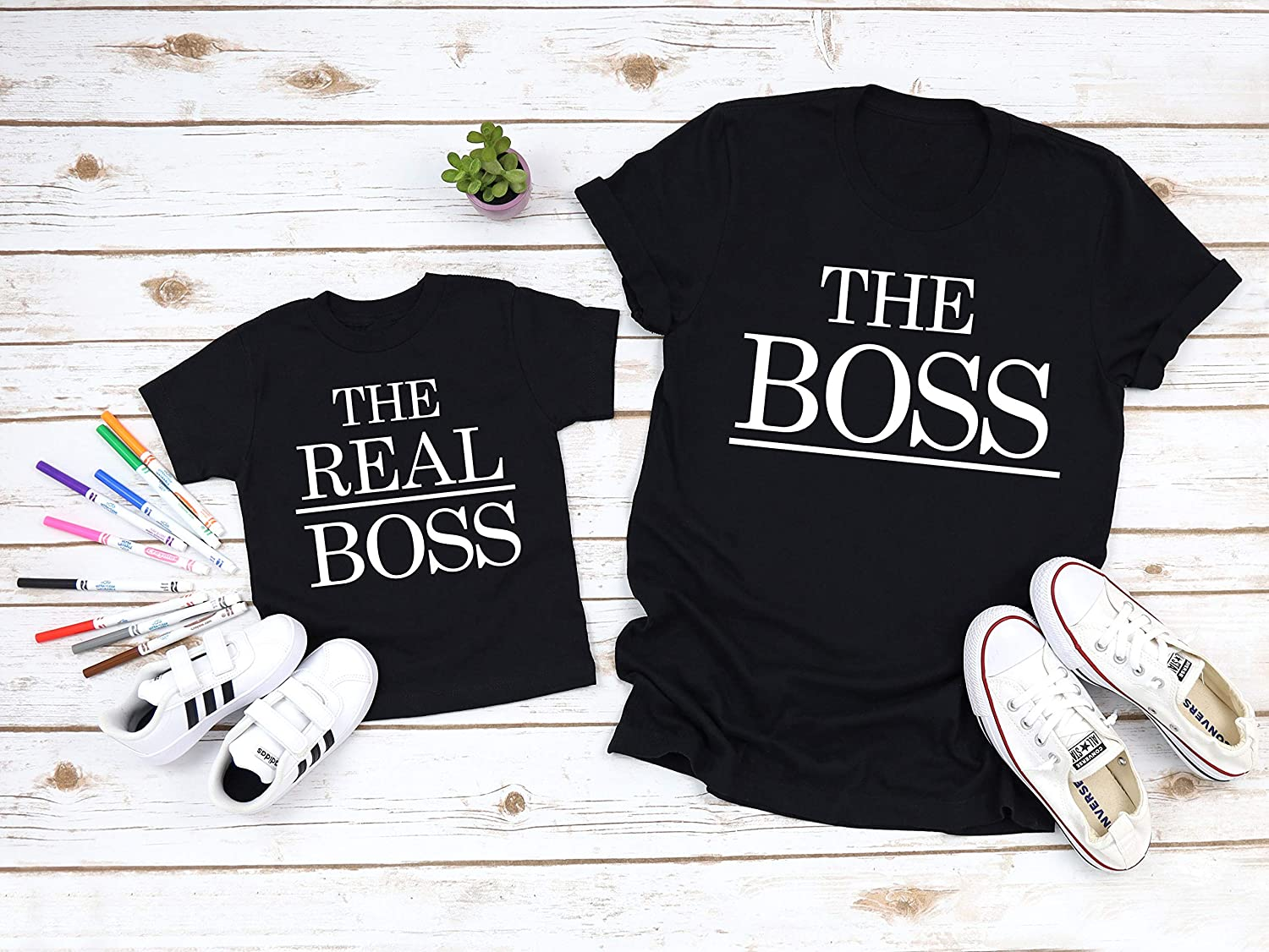 BOSS Daddy and REAL BOSS Baby Matching T-Shirt and Bodysuit Set