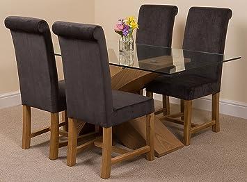 MODERN FURNITURE DIRECT Valencia pequeño Roble 160 cm Moderno Cristal Juego de Mesa de Comedor y 4 sillas de Tela Negro: Amazon.es: Hogar