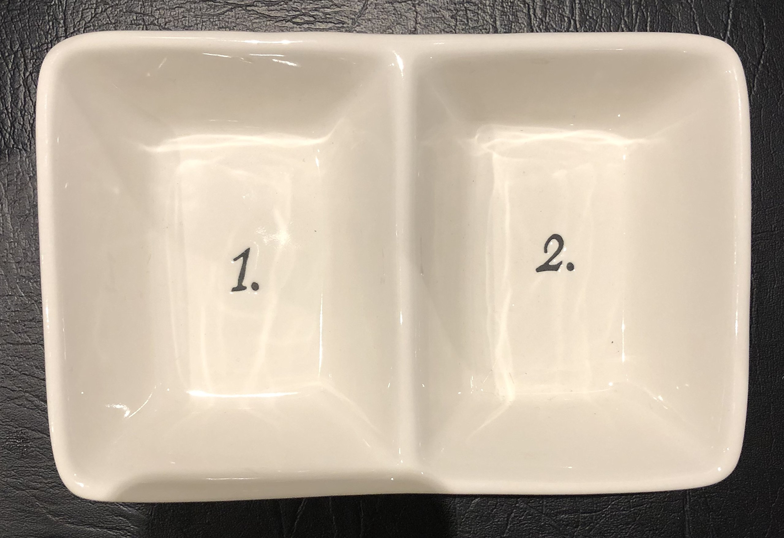 Rae Dunn Artisan Collection 2-Section Divided Tray /Serving Dish Dishwasher Safe [7.5'' X 5'' X 2'' Deep] Schoolhouse Numbers 1 & 2
