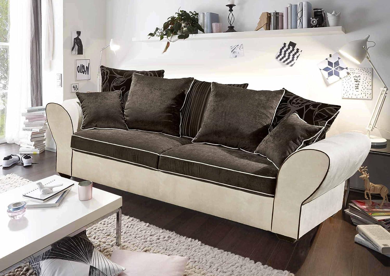 Sofa mit Microverlourbezug, Korpus creme-beige, Rücken und Sitz in schwarz-braun, Massivholzfüße, Nosagunterfederung, Maße: B/H/T ca. 237/98/102 cm
