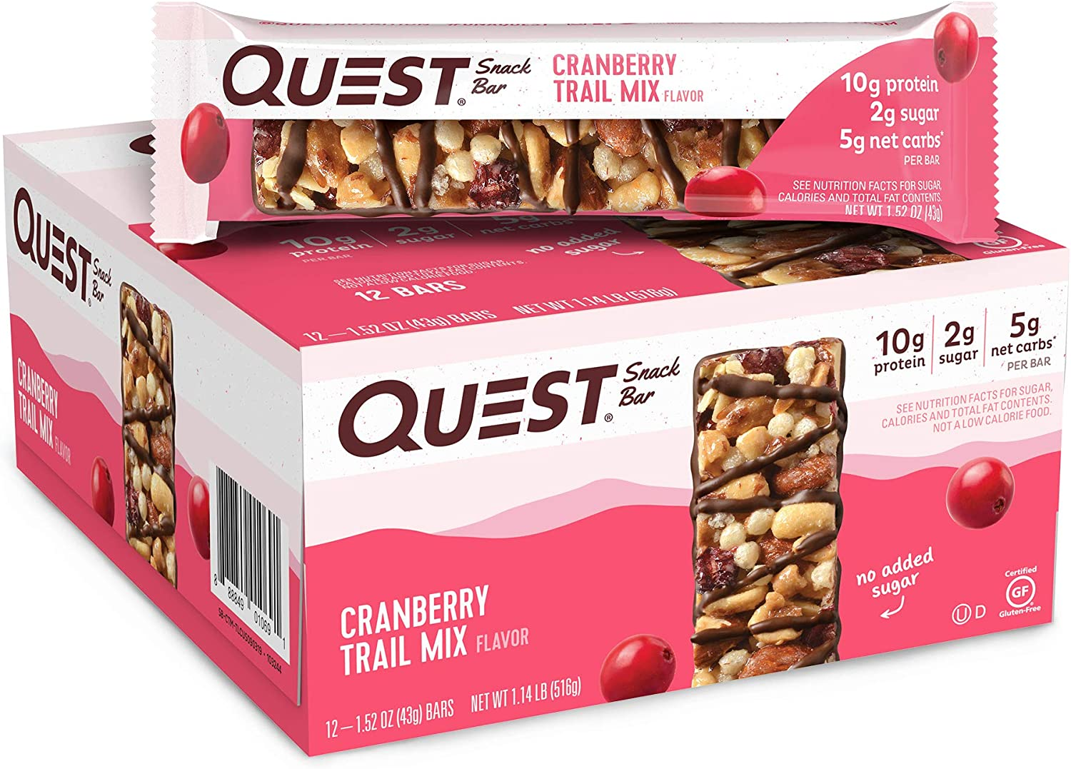 Quest Nutrition Cranberry Trail Mix Snack Bar, High Protein, Low Carb, Gluten Free, Keto Friendly, (12 Count of 1.52 oz Bars) 18.24 oz, 1.52 Ounce (Pack of 12)