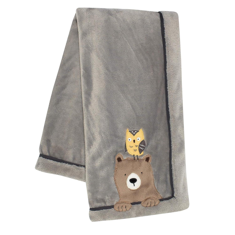 Lambs & Ivy Sierra Sky Grey Bear/Owl Soft Fleece Baby Blanket