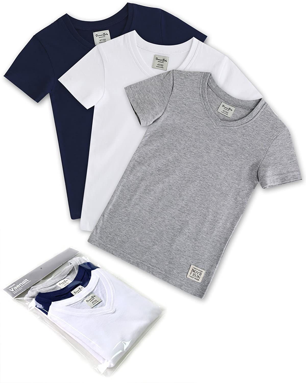 Vaenait baby 3 Pack 2T-7T Boys Shortsleeve V Neck Top T-Shirts Short British