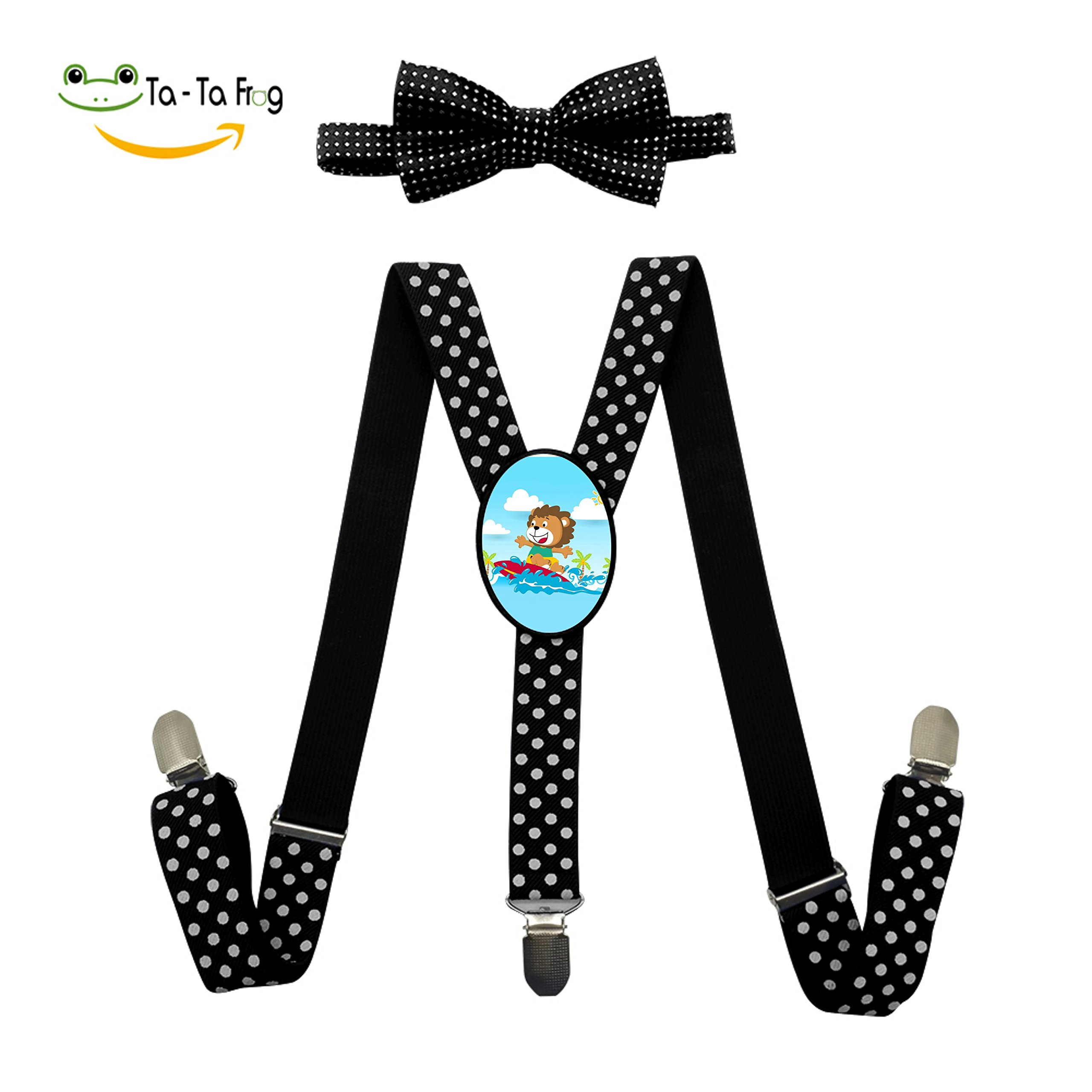 Surfing at Summer Lion Adjustable Suspenders And Pre-Tied Bowtie Set For Boys And Girls Casual And Formal Black