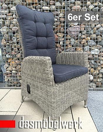 Dasmöbelwerk 6er Set Polyrattan Hochlehner Mit Sitzpolstern Rattan Stuhl  Relax Sessel Gartenmöbel Gartenstuhl PISA Grau