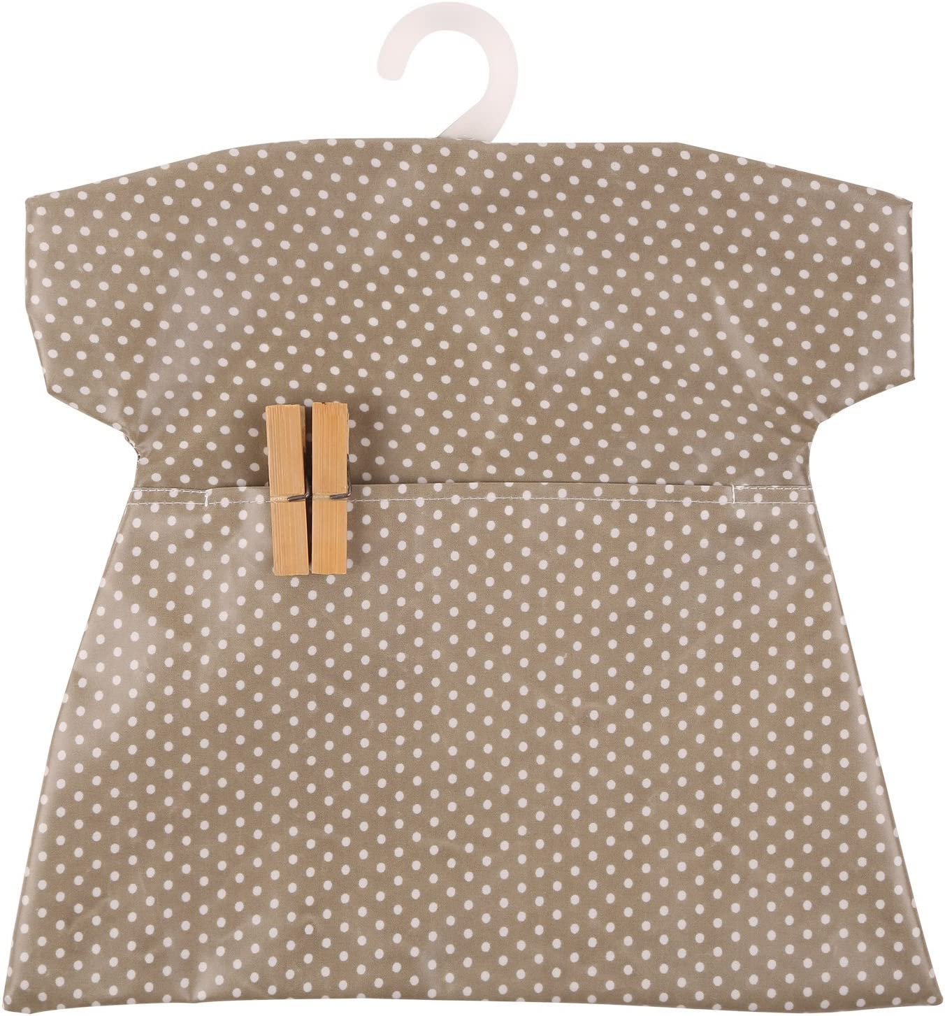 Neoviva Cotton Coated Waterproof Clothespin Bag with Plastic Hanger Canvas Polka Dots Brown