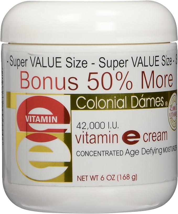 Amazon.com: Bonus Size Vitamin E Cream 42,000 I.U. - 50% More Free 6 oz. by Colonial Dames: Health & Personal Care