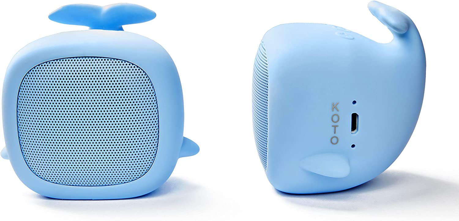 Koto Portable Mini Bluetooth Speaker for Kids, Beluga, Cute and Portable, Immersive Audio Sound System for Bedroom, Travel, and Outdoor Music Listening, Rechargeable