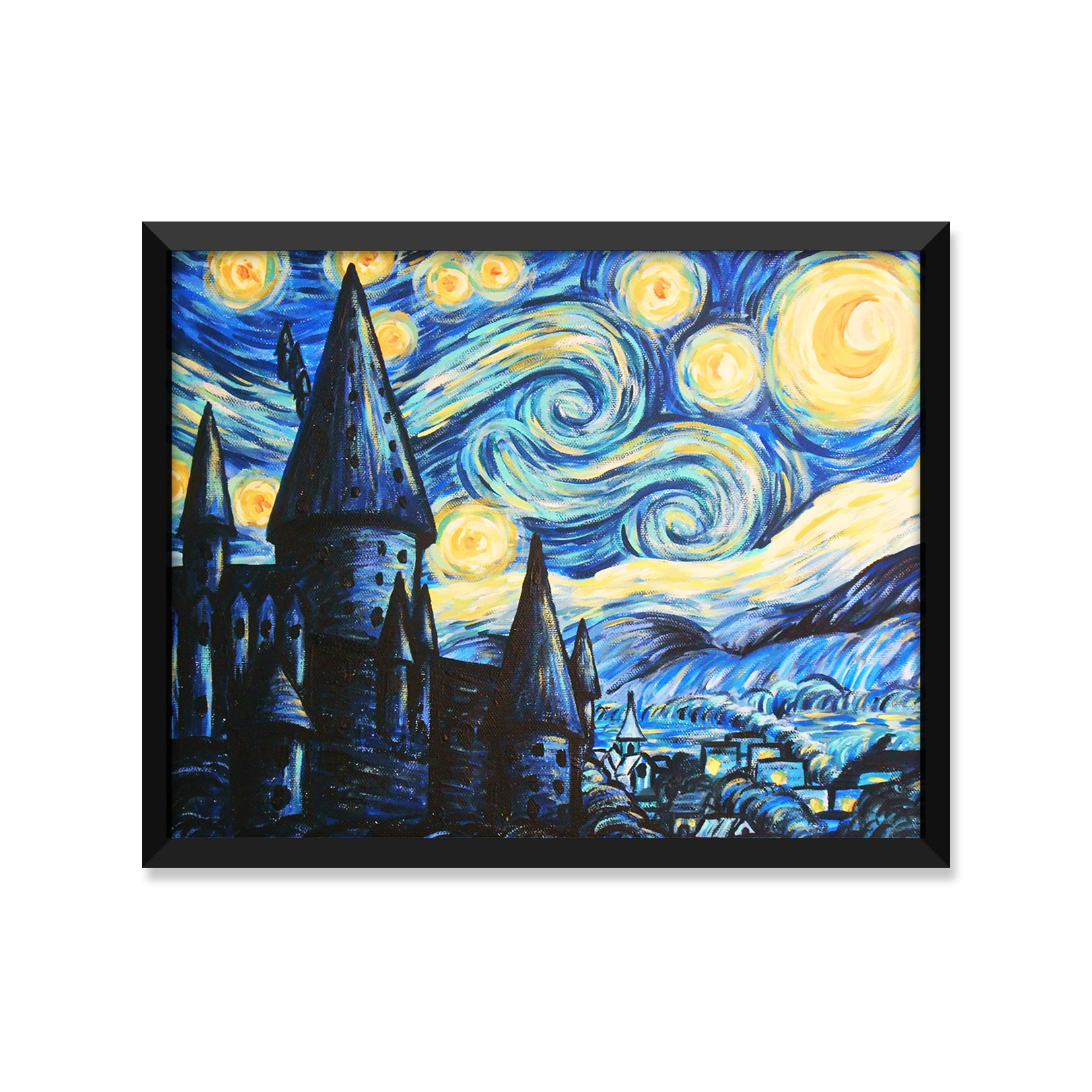 Hogwarts Starry Night Painting, Harry Potter Poster, Minimalist Poster, Home Decor, College Dorm Room Decorations, Wall Art