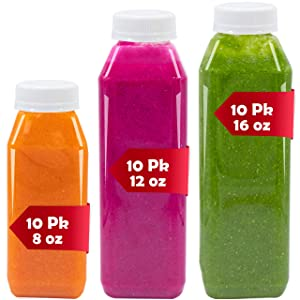 30 Pack of Empty Bottles, Plastic Bottles with Lids, Includes 10 Each Of 8 oz Bottles, 12 oz Bottles , and 16 oz Bottles, Plastic Milk Bottles With Tamper Proof Bottle Caps Lids Great for Juice Bottles Smoothies Business