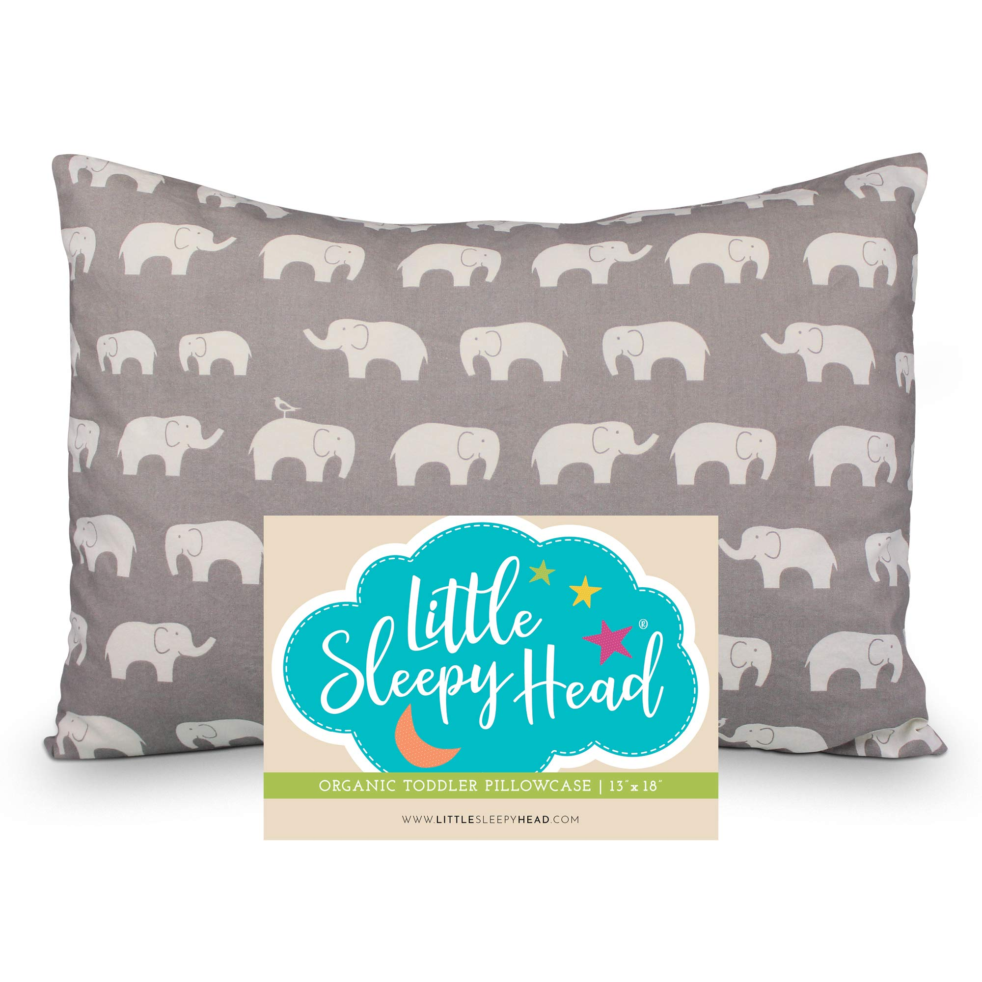 Little Sleepy Head Toddler Pillowcase 13x18-100% Organic Cotton & Hypoallergenic - Happy Elephants by Little Sleepy Head
