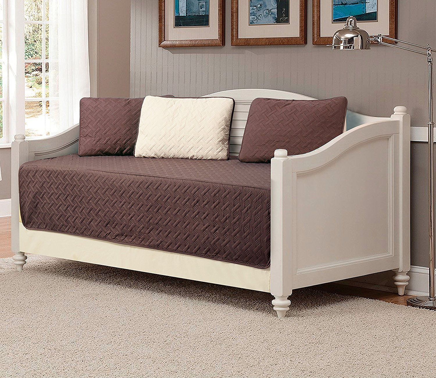Linen Plus 5pc Daybed Cover Set Reversible Embossed Bedspread Coffee Brown/Beige New