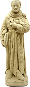 Designer Stone Vintage St. Francis with Cross-Solid Stone Statue, Sealed for Outdoor Use, Handcrafted in The USA (Old Stone)