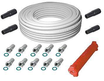 Sat-Fox HQ-120 Pro - Cable coaxial de Antena (20 m, 120 dB ...