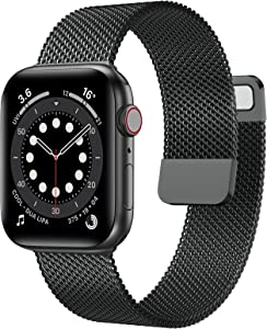 OUHENG Compatible with Apple Watch Bands 44mm 42mm 40mm 38mm, Magnetic Stainless Steel Mesh Loop Metal Band Strap for iWatch Series 6/5/4/3/2/1 SE (Space Gray, 44mm 42mm)