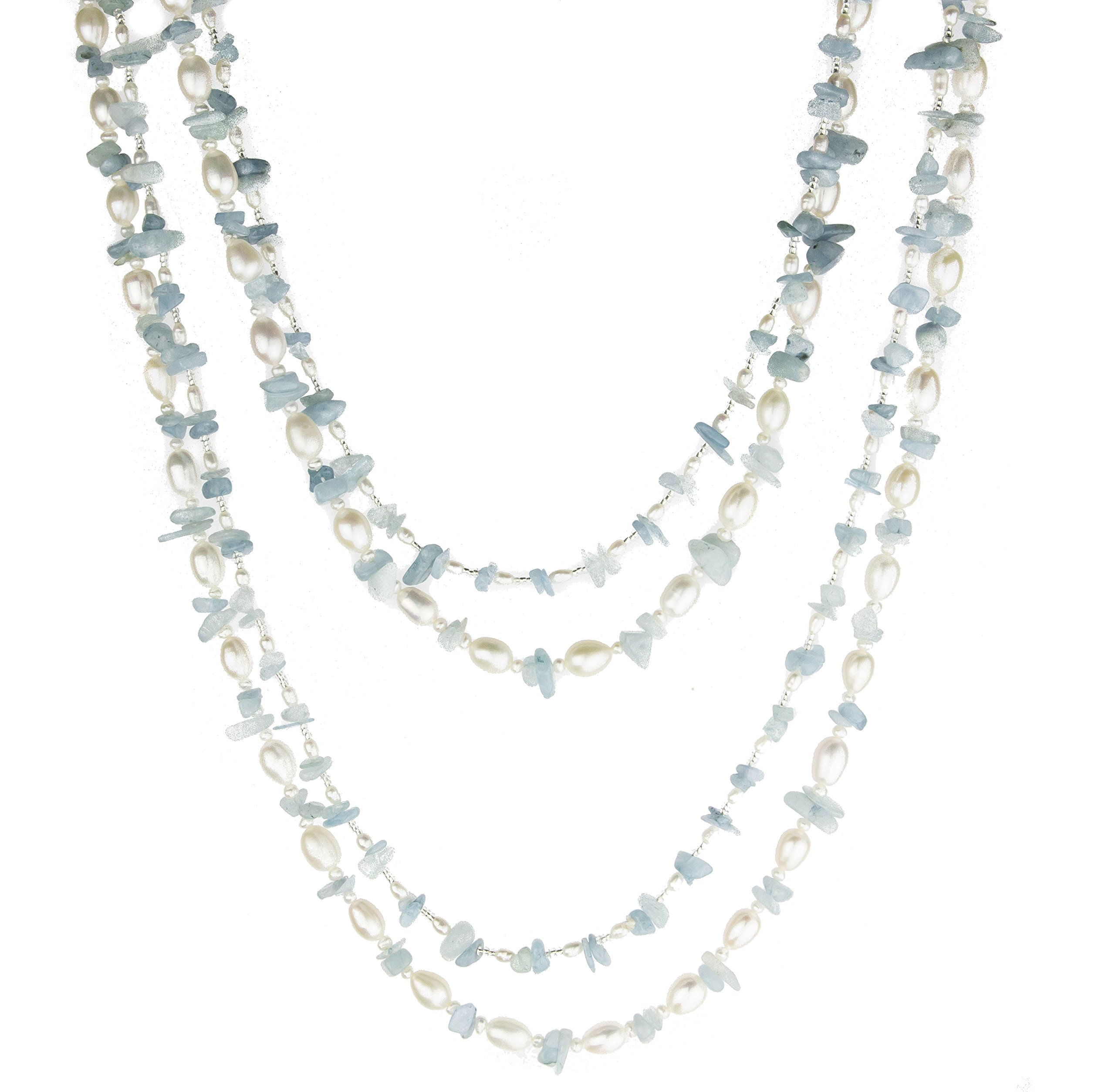 HinsonGayle 'Sky' 2-Strand Freshwater Cultured Pearl & Aquamarine Necklace & Dangle Earrings-40 in length