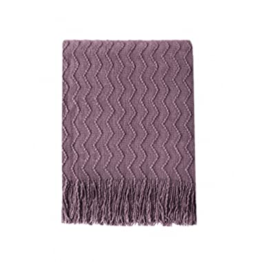 BOURINA Throw Blanket Textured Solid Soft Sofa Couch Decorative Knitted Blanket, 50  x 60 ,Dark Lavender