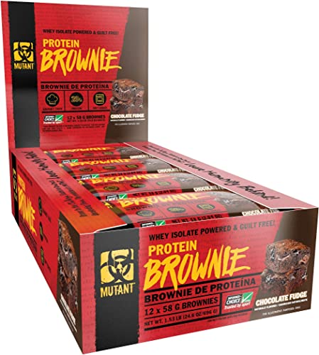 MUTANT Protein Brownie – Delicious High Protein Nutritious Snack, 20g Protein Including Whey Protein Isolate – Chocolate Fudge – 12 x 58 G