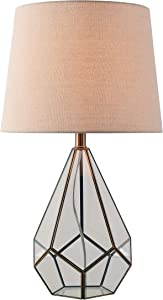 Kenroy Home 33188BAM Gemma Table Lamp, Smokey Glass