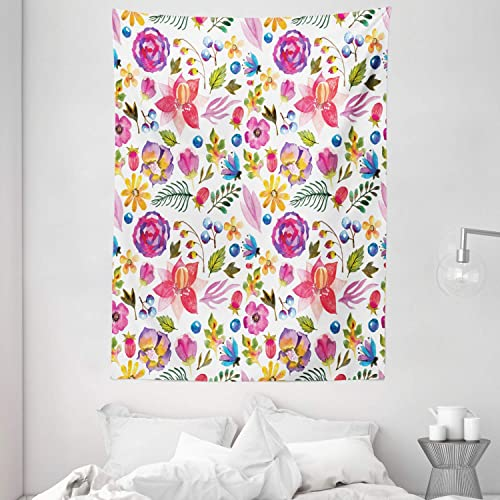 Ambesonne Watercolor Flower Tapestry, Watercolor Natural Pattern with Autumn Flowers Leaves in Rural Field, Wall Hanging for Bedroom Living Room Dorm, 60 X 80 , Pink Purple