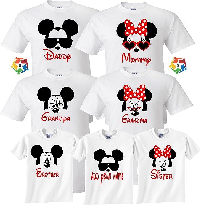 d125e2075 Arts & Designs Mickey & Minnie Custom Name Tshirts Funny Cute Custom  Matching Shirts XS Youth