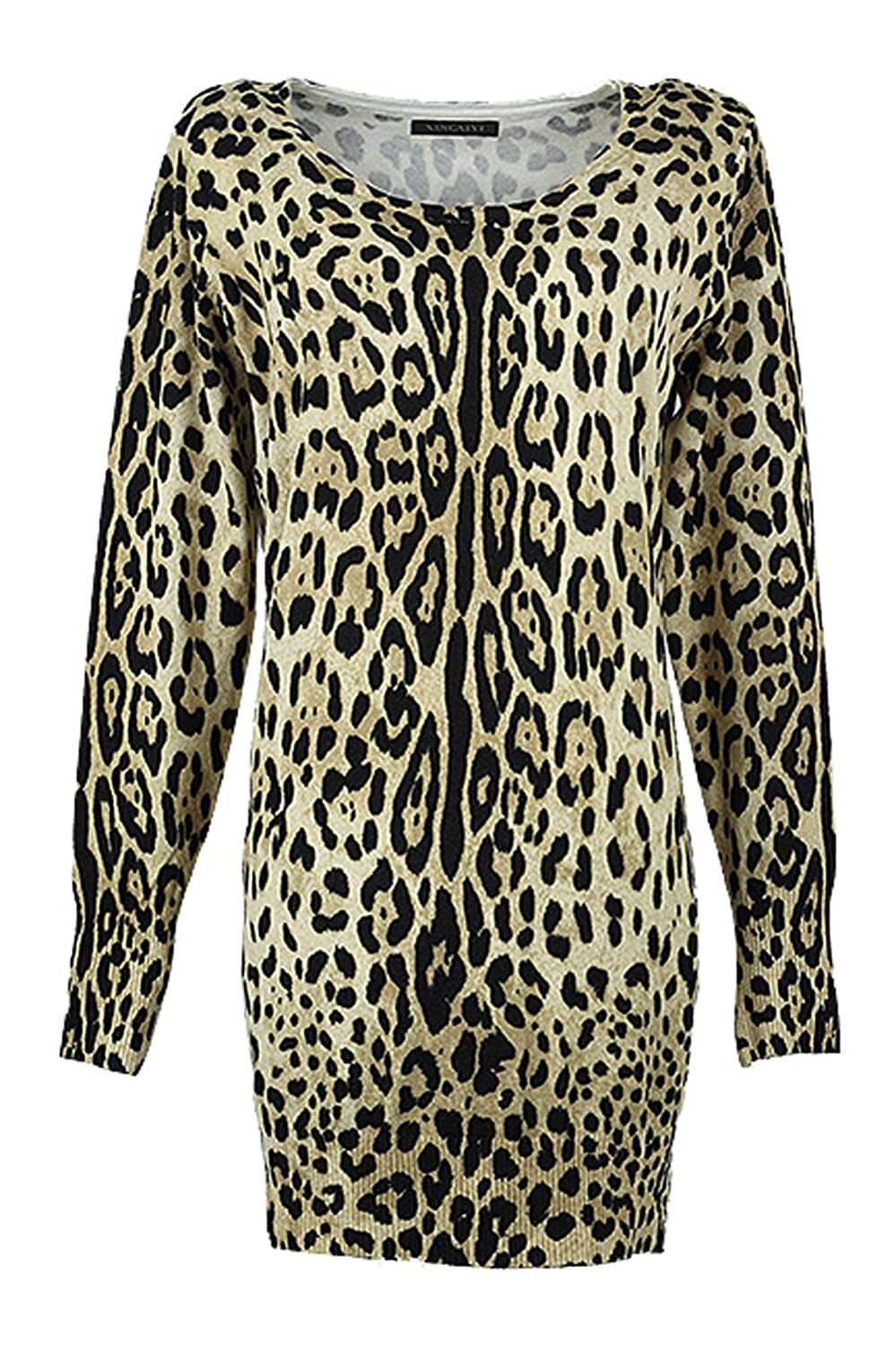 Haogo Women's Zebra Printed Cotton Knitted Long Length Pullover Cardigans Sweater