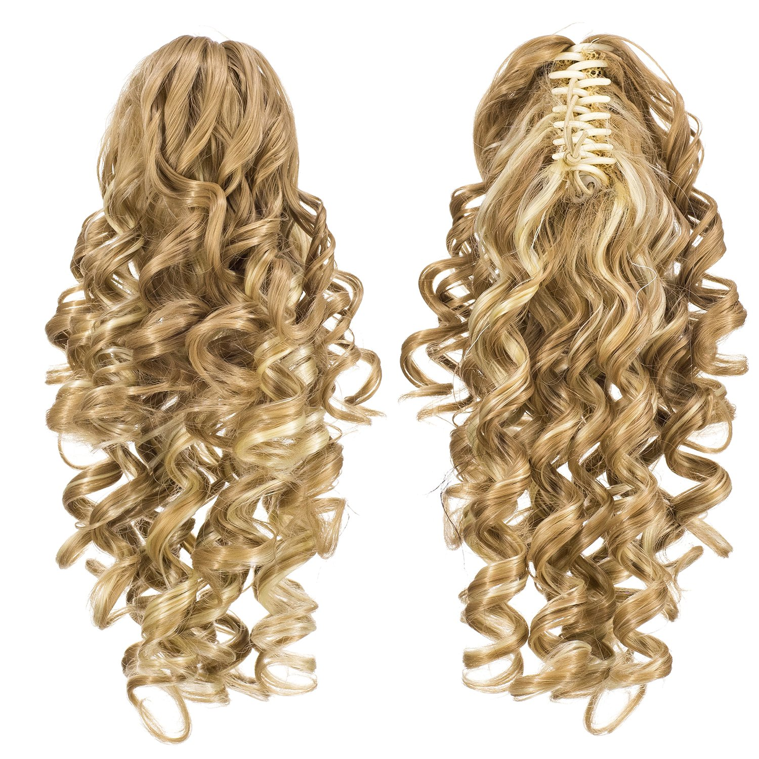 SWACC 12-Inch Short Screw Curls Claw Clip Ponytail Extensions Synthetic Clip in Drawstring Curly Ponytail Hairpiece Jaw Clip Hair Extension (Beige/Blonde Mixed-24H613#) by SWACC