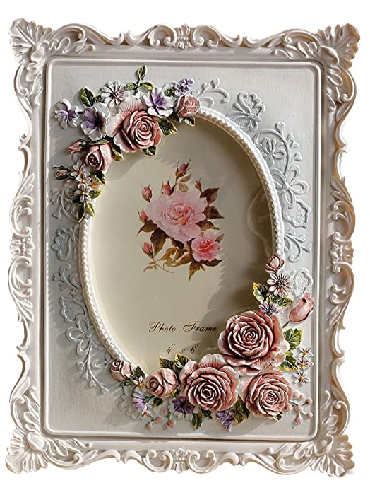 Giftgarden 4x6 Rustic Picture Frame Rose Decor White Frames 6x4 inch Photo for Mother Gift, Wedding Gift, Birthday Gift
