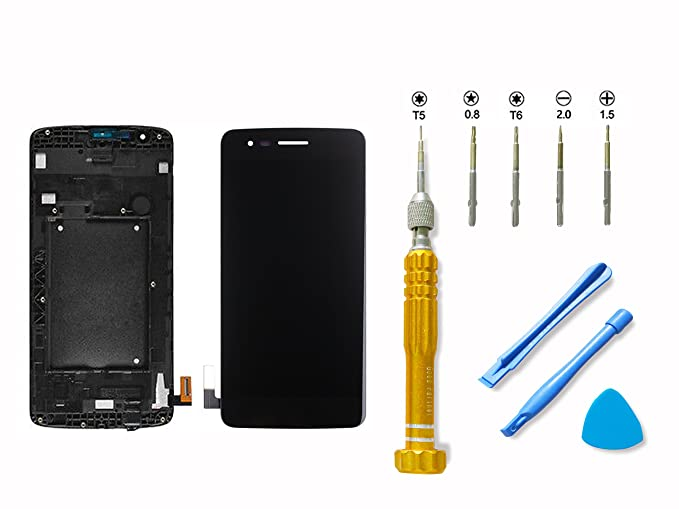 for LG K8 LCD Display Touch Screen Digitizer Assembly Replacement with  Frame + Free Repair Tools Kit Adhesive Glue, Black